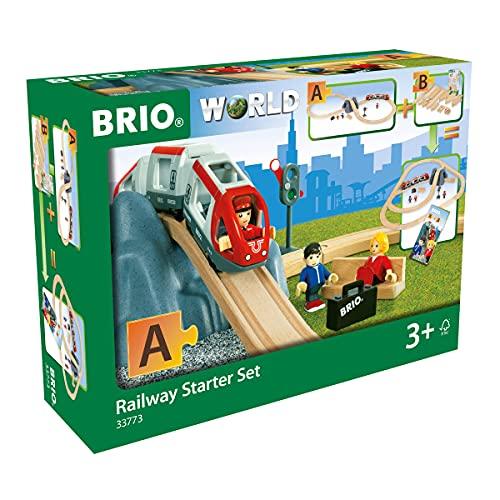 BRIO World 33773 Eisenbahn Starter Set A – Die ideale erste Holzeisenbahn mit Tunnel und Figuren – Kleinkinderspielzeug empfohlen ab 3 Jahren,Bunt