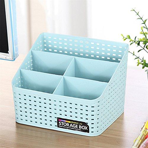 Vanker Schreibtisch-Organizer aus Kunststoff mit mehreren Fächern, für Make-up-Pinsel, Aufbewahrungsbox für mehr Ordnung und Sauberkeit, plastik, blau, Large