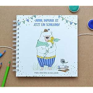 Erinnerungsalbum erstes Schuljahr, Album für Fotos und Texte, mit Schulkind Name personalisierbar