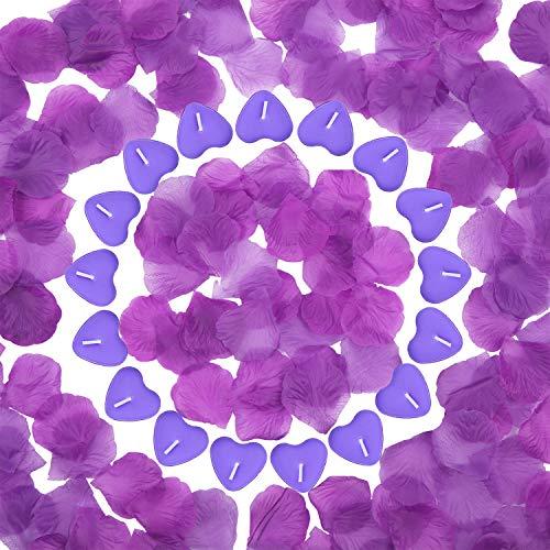 Tatuo 50 Velas en Forma de Corazón Velas de Té Románticas y 200 Pétalos de Rosa de Seda Pétalos de Flores Artificiales para Día de San Valentín Boda Cumpleaños (Vela Morado, Pétalo Morado)