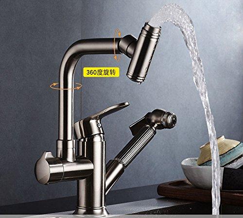 LHbox Tap Grifo de Cocina de tobera pulverizadora Multi-función Pull-Down grifos de Agua fría y Caliente Cocina Grifo Lavabo de Plato Giratorio orientable escamoteable Sink Faucet H
