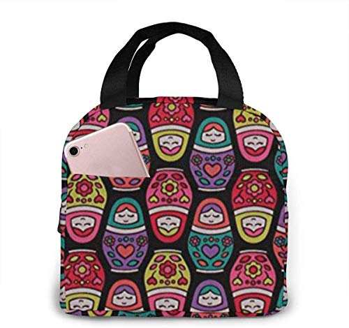 Bolsa de almuerzo de tela de muñeca rusa para mujeres,niñas,niños,bolsa de picnic aislada,bolsa gourmet,bolsa cálida para el trabajo escolar,oficina,camping,viajes,pesca
