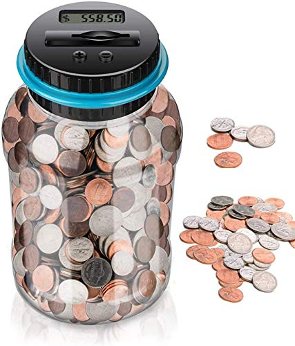 WanHua Digital Coin Bank,Large Piggy Bank,Counting Money Jar,Electronic Digital Counting Piggy Bank for Kids Adults Boys Girls as Gift on Christmas,Birthday,New Year's Day