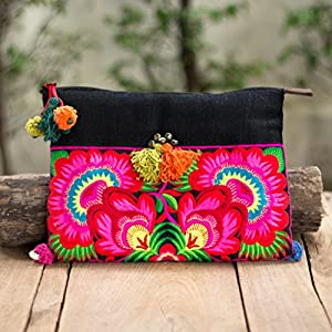 Changnoi Fair Trade Thai Artisan Boho Clutch Bag/Ipad Holder Hmong Embroidered Decorated Pom Pom and Brass Bells for…