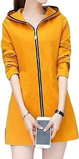 maweisong レディースロングスウェットシャツコート郵便アウターウェアフードジャケット