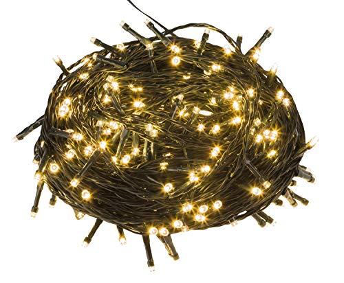 200 Led Lichterkette für innen und außen, Größenwahl: 200/300/400/500er Strombetrieben mit Stecker GS geprüft, IP44,Außen und Innen für Garten Hochzeit Weihnachten Party Warmweiß (Warmweiss, 200LED)
