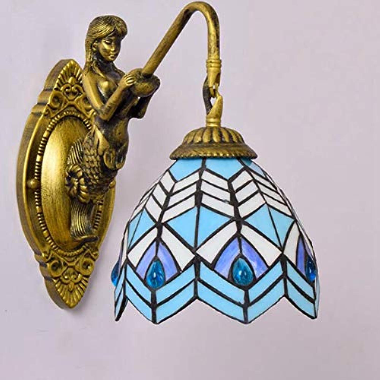 LL Wall Lamp Blau Retro Glass Simple for Porch Aisle Livingroom Dining Room Balcony Bedside Reading Light,onehead,26x15cm