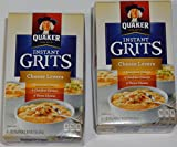 Quaker Instant Grits, Cheese Lovers Microwave or stovetop preparation Pack of (2) boxes of (12) 1-ounce packets each (4) American, (4) Cheddar, (4) Three-Cheese per box