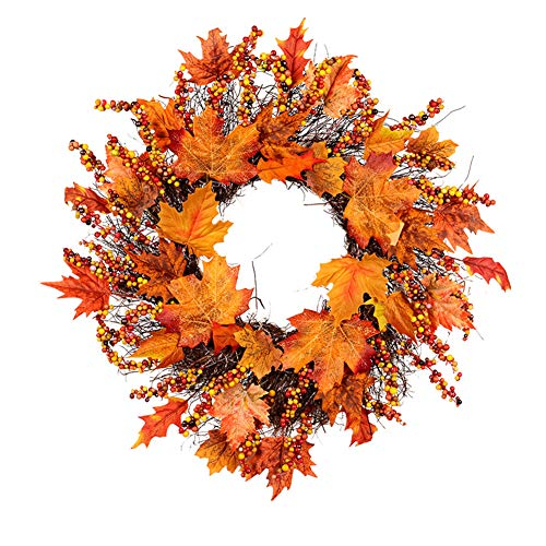 Sumshy Door Wreath Autumn Window Wreath Wall Wreath Diameter 45 cm Beautiful Pendant Wreath Thanksgiving Halloween Maple Leaf Garland for House Restaurant Shopping Mall Store Library Coffee House
