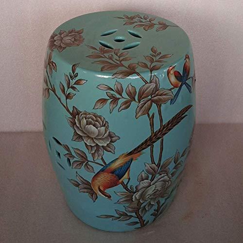 FEE-ZC Taburete de cerámica Taburete de Tambor de cerámica Pintado a Mano Azul y Blanco Lotus Taburete Redondo Grande Balcón Taburete de Porcelana de baño (43x35cm) (Color: B)