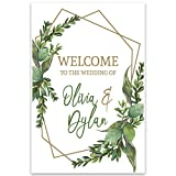 Geometric Leaves Welcome to Our Wedding Wall Art Poster