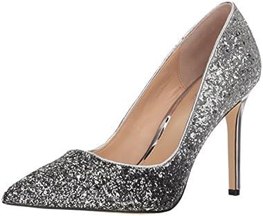 Jewel Badgley Mischka Womens Malta Shoe, black/silver, M7.5 M US