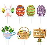 Letreros de patio de Pascua 7 piezas Decoraciones de césped de conejito de huevo de Pascua Juego de caza al aire libre Decoración de fiesta de Pascua Letreros de estaca de patio Accesorios de Pascua