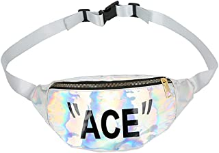 Holographic Fanny Pack Women Men Kids, Fashion Waterproof Waist Pack 1 Pouch Adjustable Strap, Shiny Causal Bags Travel Festival Hiking Rave