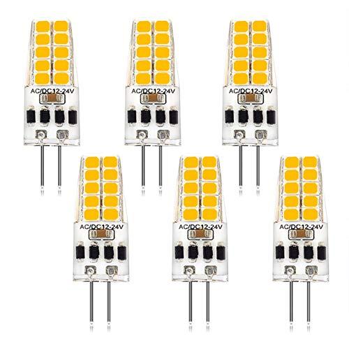 YQGOO Bombilla LED G4 sin Parpadeo, Base de Dos Clavijas, Bombilla de maíz Blanco cálido, a Prueba de Polvo, AC/DC, 12v, 3w, lámpara de iluminación de Gel de sílice para Paisaje, RV, Paquete de 6