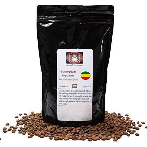 Revocup Ethiopian Coffee, Ethiopian Yirgacheffe Coffee - Naturally Processed Whole Bean Coffee Medium Roast, Specialty Grade Coffee, Organic Coffee Beans 12 oz Bag (Brews 20+ Cups @ 9 oz each)