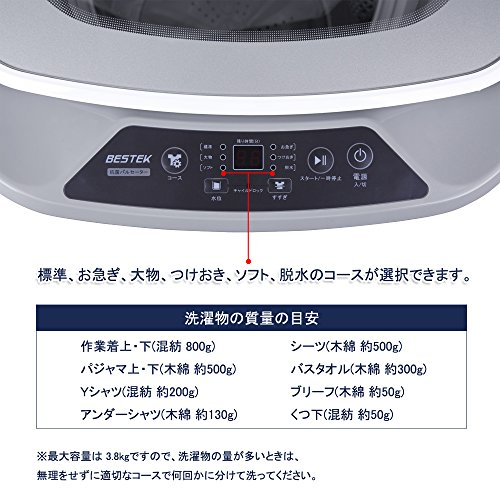 BESTEK全自動洗濯機小型ミニ縦型洗濯容量3.8kg抗菌パルセーターBTWA01