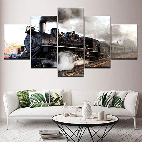 Brandless Il Treno a Vapore 5 Pezzi su Tela sfondi Poster Moderno Pittura d'Arte modulare per Soggiorno Decorazioni per la casa-20x35 20x45 20x55cm Senza Cornice