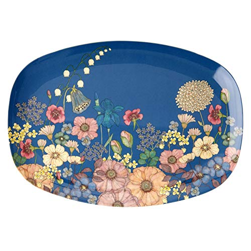 Rice Melamin Servierplatte Tablett Teller mit Blumen Collage Muster - 30 x 22 cm
