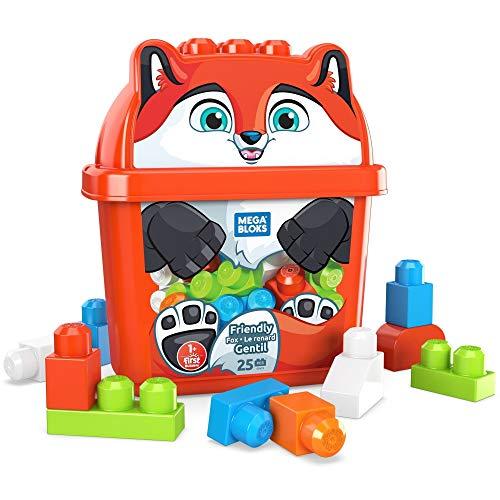 Mega Bloks Secchiello Cucciolo di Volpe, 25 Blocchi da Costruzione, Giocattolo per Bambini 1+Anni,GRV22