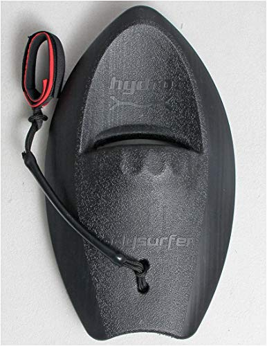 Hydro Bodysurfing Handboard (Single), Black with Deluxe Padded Wrist Leash. One Size fits All. Super Durable and Floats