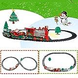 LIDEBLUE Juguete de tren eléctrico de Navidad, árbol de Navidad, tren de Papá Noel, modelo de juguete con luz sonora y riel a batería para niños (Color de cabeza aleatorio)