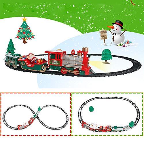 LouisaYork Weihnachtszug-Set, batteriebetrieben, elektrische Eisenbahn mit realistischem Licht, Kutschen, Kinder ab 3 Jahren