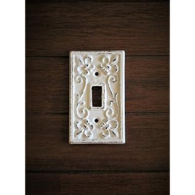 Single Light Switch Cover/ Light Plate Cover / Cast Iron Plate/ Fleur de Lis Design/ Antique White or Pick Your Color