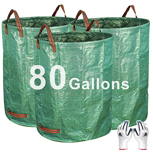 Gardzen 3-Pack 80 Gallon Garden Bag - Reuseable Heavy Duty Gardening Bags, Lawn Pool Garden Leaf Waste Bag