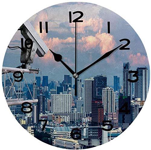 Ad4ssdu4 Reloj de pared redondo con cámara de seguridad que detecta el movimiento del tráfico. Rascacielos para colgar en la azotea
