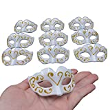 UNIQUE AND COMPACE DESIGN - supper small mini white mask, very cute venetian masquerade party mini mask NOVELTY GIFTS - wide is about 2.75 inch, high is about 1.5 inch, not for wear, supper mini masks for party decoration, perfect gifts for any occas...