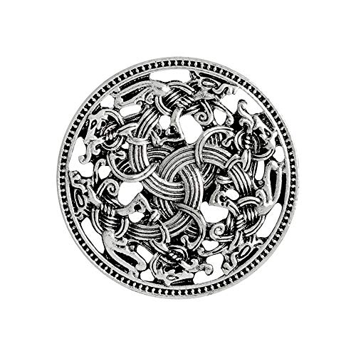 QIHOO Norse Medieval viking shield symbol brooch Celtic Norse Vintage Jewelry (Silver)