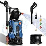 3800PSI Pressure Washer 2.8GPM Electric Power Washer 2000W High Pressure Cleaner Machine with 4 Nozzles Foam Cannon,Best for Cleaning Homes, Cars, Driveways, Patios, Fences, Garden (Blue)