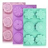 YuCool - Set di 3 stampi per dolci in silicone, ognuno con 6 formine a forma di fiore, per decorazioni con glassa, cubetti di ghiaccio, tortine al cioccolato, colore viola, verde e rosa