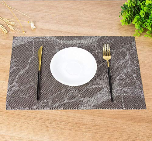 Radiancy Inc N/O 6 Pcs PVC Placemat for Dining Table, Non-Skid Insulation Washable Table Mat, 18 x 12 inches Non-Odor Woven Placemats (Brown Marble)