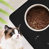 耐久性のあるシリコーン素材猫と犬のボウルマット防水マット犬のプレースマット滑り止めペット給餌パッド家庭用ペット用フードパッド犬用犬用動物用猫用(黒)