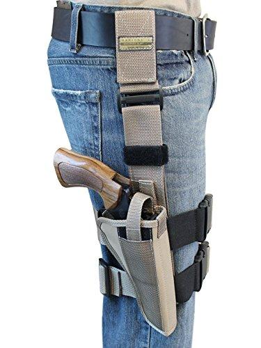 Barsony New Desert Sand Tactical Drop Leg Holster for Taurus 608 Right