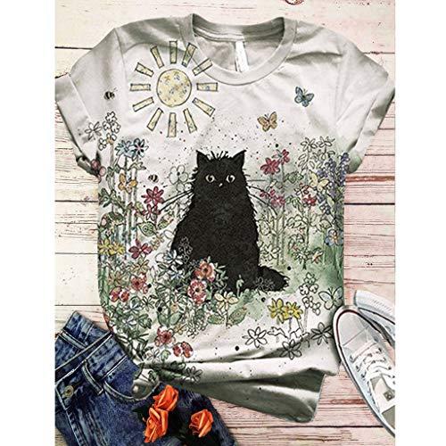 ELECTRI Tee-Shirt d'été Chemises imprimées d'animaux T-Shirt Aquarelle T-Shirts imprimés en 3D T-Shirt Graffiti T-Shirt de Peinture Abstraite T-Shirt à Motif Chat/Papillon/Lapin/bétail, T-Shirt Femme