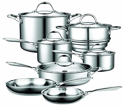 Cooks Standard NC-00232 Stainless Steel 12 Piece Multi-Ply Clad Cookware Set, Silver