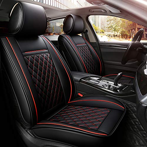red and black seat covers leather - 3