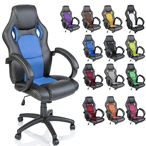 TRESKO Sedia da Ufficio Poltrona Ufficio Versione Racing 14 diferente Colores, braccioli Imbottiti, inclinazione, Sollevare SGS Testato (Nero)