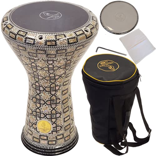"""Gawharet El Fan 17"""" darbuka drum - A great hand drum and percussion instrument for gifting - A Made in Egypt instrument like the djembe drum - Also called the doumbek drum."""
