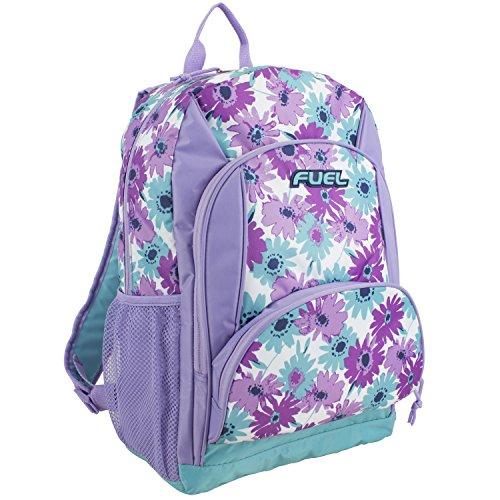 Fuel Multi Pocket Backpack with Fun Prints, Casual Daypack, Multipurpose Bag - Lavender/Mint Floral Print