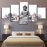 Cuadro Moderno en Lienzo 5 Piezas Zen Impresiones de Lienzo Cuadro de Pared para Dormitorio Sala de Estar Decoración, 150x80cm Sin Marco