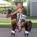 PonyCycle Officiel Classique U Série Montez sur Un Cheval Jouet Peluche Animal Marchant Cheval Brun foncé pour Les âges de 3 à 5 Ans Petite Taille U321