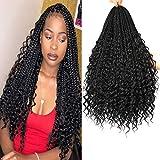 7 Packs 20 Inch Crochet Box Braids Hair with Curly Ends Prelooped Bohemian Goddess Box Braids Crochet Hair Braiding Hair Crochet Braids Hair for Black Women (Bohomian 20 Inch 7 Packs, 1B#)