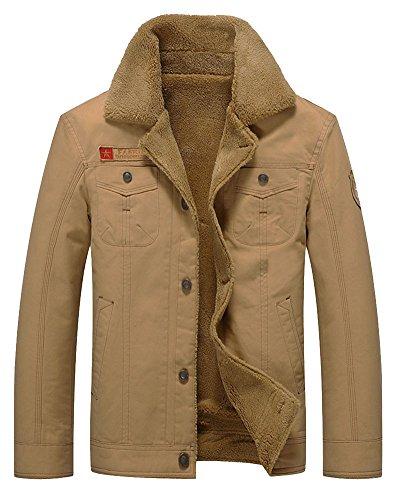 ZhuiKun Herren Freizeit Lederjacke Vintage Design Gesteppt Mantel Slim Fit Bikerjacke Kaki M