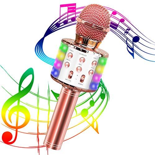 Karaoke Mikrofon, Bluetooth Karaoke Mikrofon Tragbares drahtloses Mikrofon 4.1 Lautsprecher mit LED-Leuchten und Aufnahme für Erwachsene und Kinder, Kompatibel mit Android IOS PC (Roségold)
