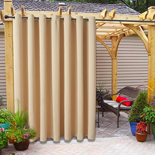 FLOWEROOM Indoor/Outdoor Curtains for Patio, Pergola and Cabana, Beige, 100 x 95 inch – Sun Light Blocking Waterproof, Grommet Thermal Blackout Curtains for Bedroom/Living Room, 1 Panel