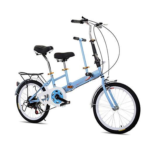 """RANZIX 20\"""" Tandem Fahrrad, Faltbar, Erwachsene Kinder Travel Bicycle Camp Fahrrad 2 Sitze zusammenklappbar Kinderfahrräder (Blau)"""